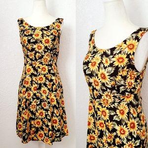 Vintage 90s Y2k Sunflower Floral Mini Skater Dress